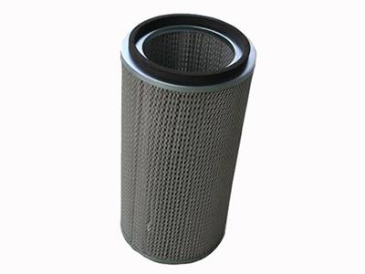 A cartridge air filter has pleated media mesh, woven protective mesh and frame.