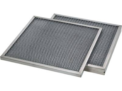 Two aluminum frame panel filter have expanded mesh as protective mesh.