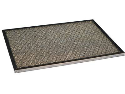There is a galvanized frame panel filter which has knitted media mesh and expanded protective mesh.