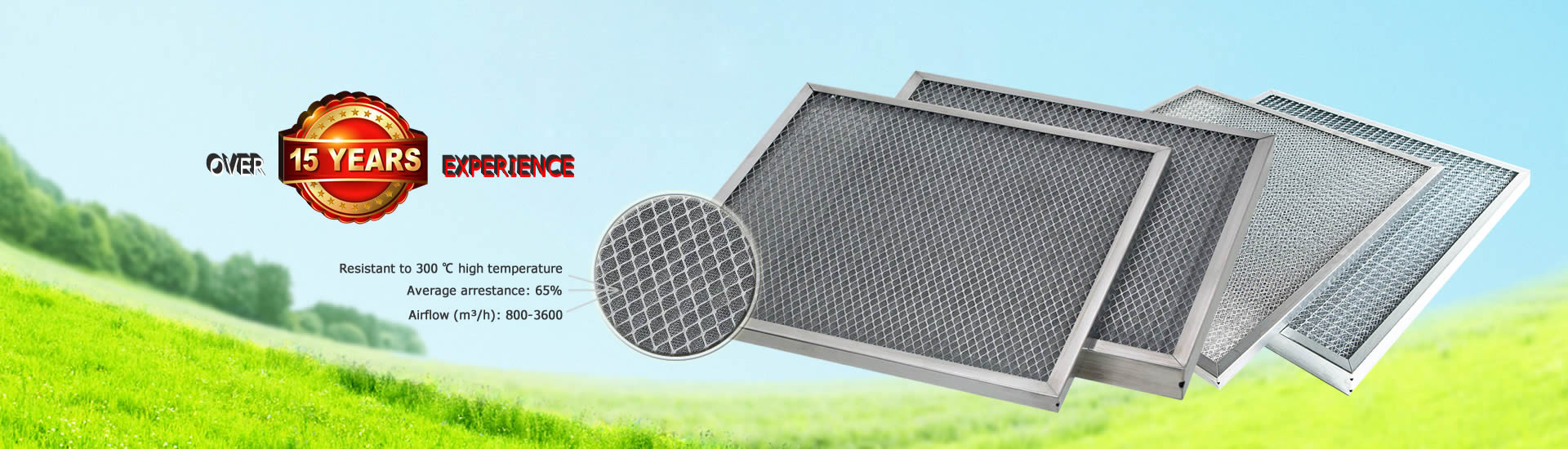 Four knitted mesh panel filters have protective mesh and frame.