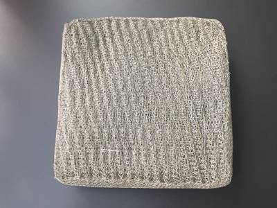 There is a square compress knitted wire mesh panel filter.