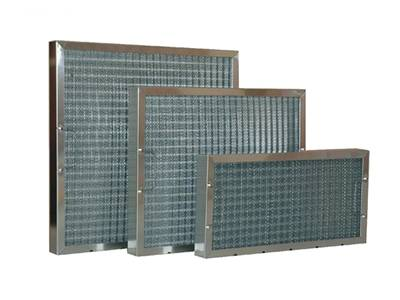 Three SS frame panel filters have pleat woven media mesh and handles.